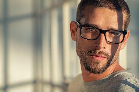 Cool man wearing eyeglasses