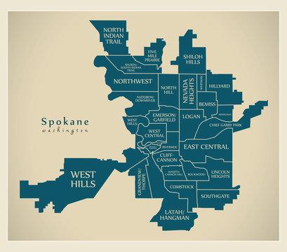 Modern City Map - Spokane Washington city of the USA with neighborhoods and titles