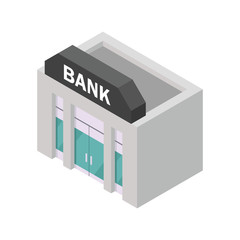 Isometric vector image of a bank building