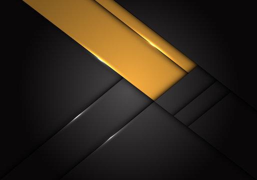 Abstract yellow label overlap on dark grey metallic design modern futuristic background vector illustration.