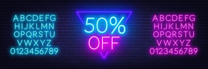 Fototapete - Neon offer template for discount on sale. . Neon blue and pink alphabets with numbers.