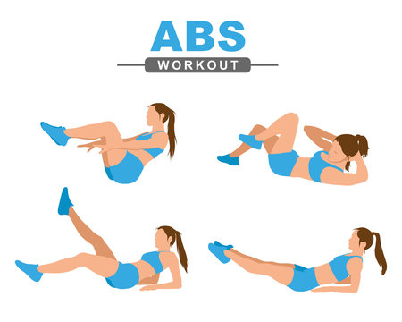 ABS workout. A young woman performs a abs exercise. Fitness, active lifestyle. Isolated on a white background