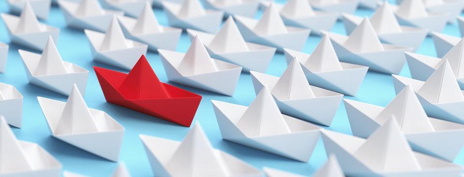 Rotes Boot unter weißen als Unterschied Konzept
