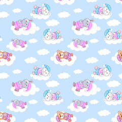 cute sleeping animals vector seamless pattern