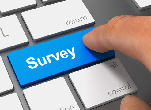 survey pushing keyboard with finger 3d illustration
