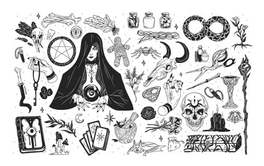 Witchcraft set - witch or enchantress and mystical items for wizardry, enchantment, astrology and clairvoyance hand drawn with black contour lines on white background. Monochrome vector illustration.
