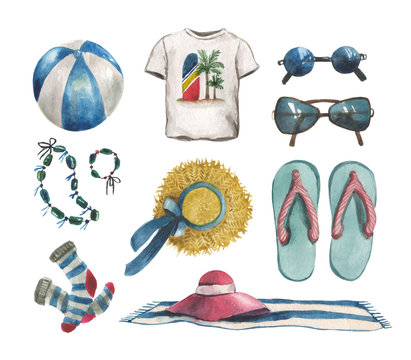 Watercolor beach set with T-shirt, ball, straw hat, beach spread, socks, slippers, sunglasses, necklace. For design compositions on the topic of vacation, holidays, travel
