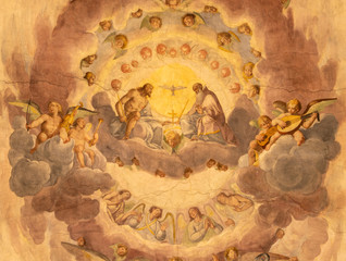 Wall Mural - COMO, ITALY - MAY 11, 2015: The ceiling fresco of Holy Trinity in church Chiesa di San Orsola by Gian Domenico Caresana (1616).