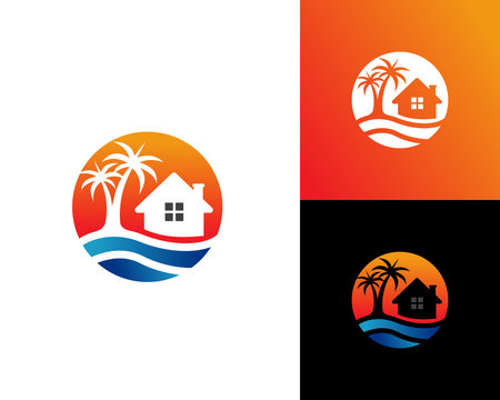 Beach House logo Design Template Vector