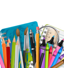 School background with markers, colorful pencils, scissors, magnifier, brush, and other education supplies. Free white space for custom text. Reatistic vector illustration.