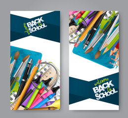 Welcome back to school leaflet flyer set with realistic education supplies - pencil with errasor, brushes, ring notebook, highlighters, crayons and stylish text. Vector illustration.