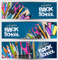 Welcome back to school banner set with supplies for study - pencils, pencs, scissors, paper clip, crayons. Header for advertisement or sales promotion. Vector illustration.