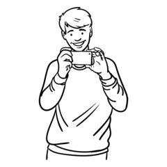 vector comic outline drawing in black and white of a young man holding a cellphone in hand, smiling and shitting a photo. laughing, photo, selfie, cellphone, cellphone, taking pictures.