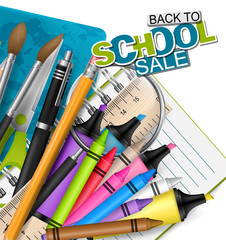Backto school sale. Background with markers, colorful pencils, scissors, magnifier, brush, spiral notebook, and other education supplies. Reatistic vector illustration.