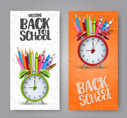 Welcome back to school flyer  or vectical banner set with realistic alarm clock, coloring pencils, and crayons.  Chalk style text sign. Vector illustration.