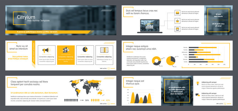 Collection internet web banner template for business communication.