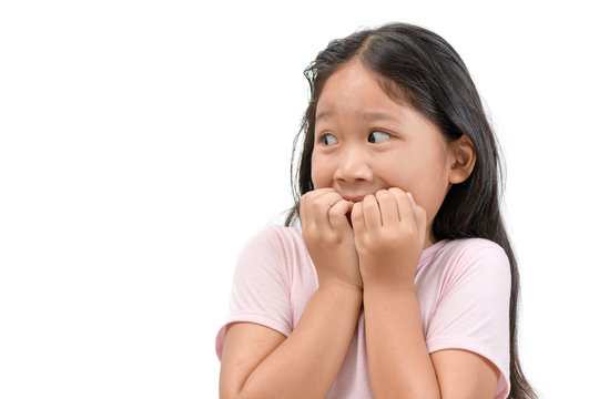 portrait of shocked or scared kid girl isolated