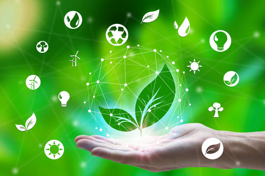 Hand holding with leaf and environment icons over the Network connection on nature background, Technology ecology concept. environment concept