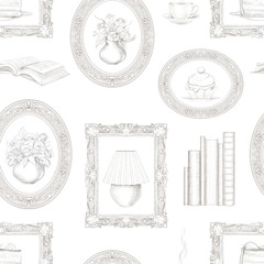 Vintage seamless pattern with hot drink, books, paintings with cakes and flowers isolated on white background. Lead pencil graphic hand drawn illustration