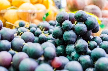 Fresh dark blue grapes for sale at local market