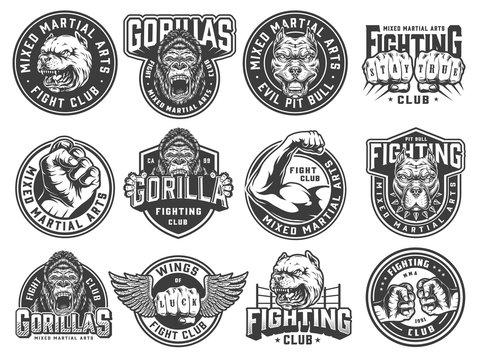 Vintage monochrome fight club labels