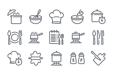 Cooking related line icon set. Pot, pan and kitchen utensils linear icons. Cooking recipe outline vector signs and symbols collection. Fototapete