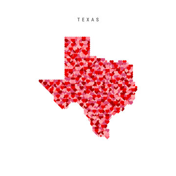 I Love Texas. Red Hearts Pattern Vector Map of Texas