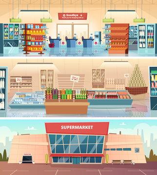 Supermarket facade. Grocery food market interior mall inside cashier vector cartoon illustrations. Supermarket and grocery, facade retail, hypermarket showcase. Super market facade, groceries and shop