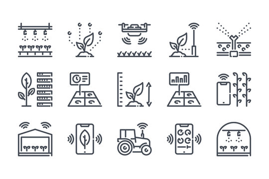 Smart farm related line icon set. Farm technologies linear icons. Food science outline vector signs and symbols collection.