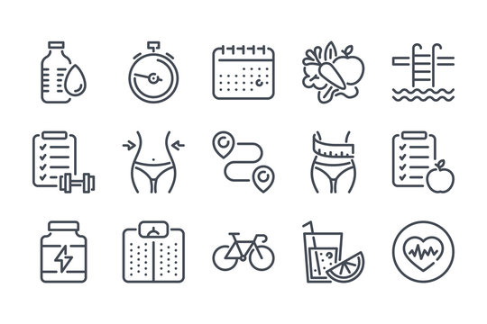 Fitness related line icon set. Gym exercises linear icons. Sport and training outline vector signs and symbols collection.