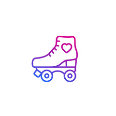 Roller skates line icon on white