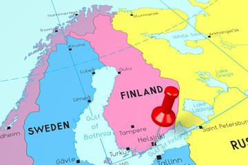 Spoed Foto op Canvas Wereldkaart Finland, Helsinki - capital city, pinned on political map