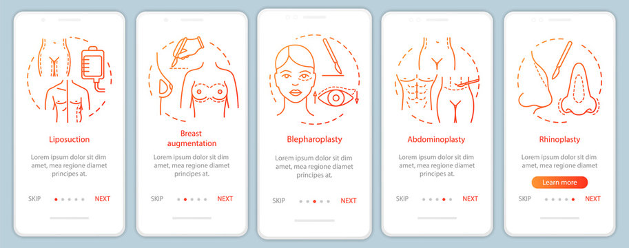 Plastic surgery clinic services onboarding mobile app page screen vector template