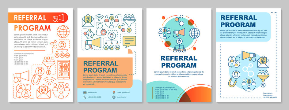 Referral marketing program brochure template layout. Flyer, booklet, leaflet print design with linear illustrations. Vector page layouts for magazines, annual reports, advertising posters