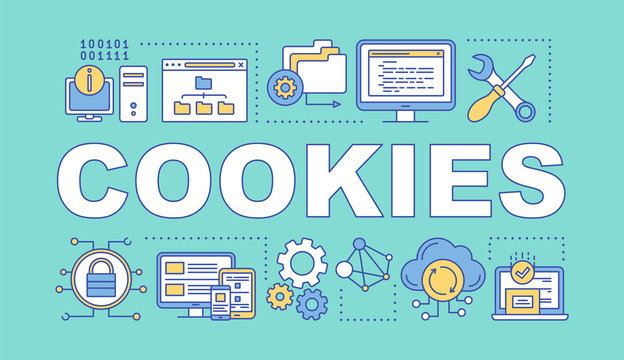 Cookies word concepts banner. Affiliate and referral tracking software. Computing, data storage. Presentation, website. Isolated lettering typography idea, linear icons. Vector outline illustration