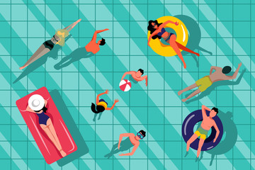 Fototapeta People swimming in swimming pool, top view illustration. Vector summer hand drawn water background.
