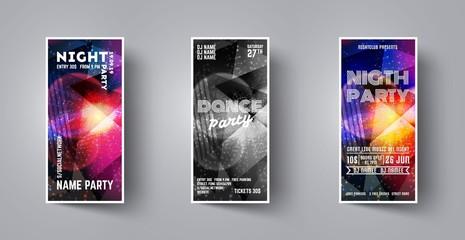 Set flyer for dance night party. Vector template leaflet for dance party club. Minimal colorful backdrop. Club event poster. Invitation poster. Trance fest flyer.  Vector illustration set.