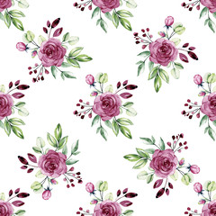Seamless floral pattern with watercolor flowers pink and violet roses, leaves. Repeating fabric wallpaper print texture. Background perfectly for wrapped paper, backdrop. Hand paint.