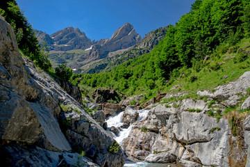 Cinca waterfalls in National Park of Ordesa and Monte Perdido. Valley of Pineta, Bielsa, Spain.