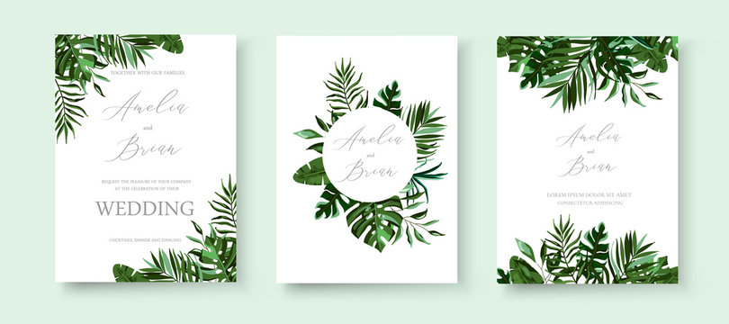 Wedding greenery tropical exotic floral invitation card save the date design