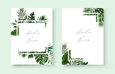 Wedding greenery tropical exotic floral invitation card save the date design Wall mural