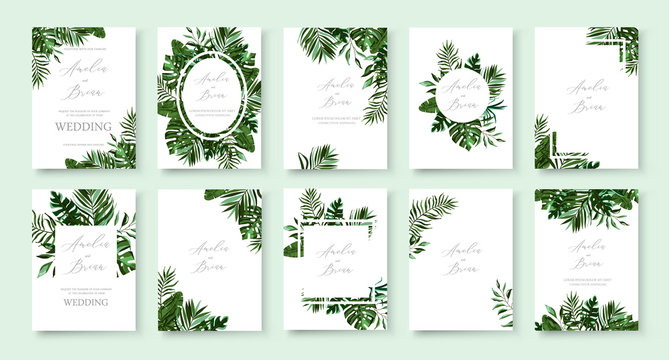 Set of wedding invitation with greenery tropic exotic summer card