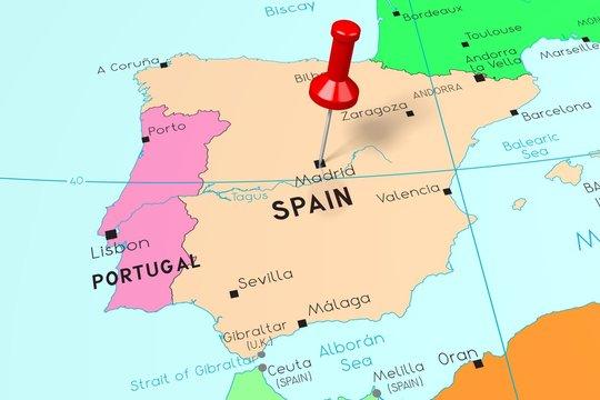 Spain, Madrid - capital city, pinned on political map
