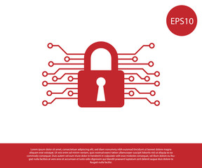 Red Cyber security icon isolated on white background. Closed padlock on digital circuit board. Safety concept. Digital data protection. Vector Illustration