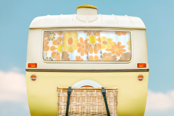 Vintage caravan in two tone yellow and white