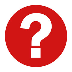 Question mark icon flat red round button vector illustration