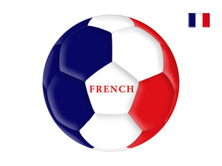 Soccer ball in colors of the flag of France (French)