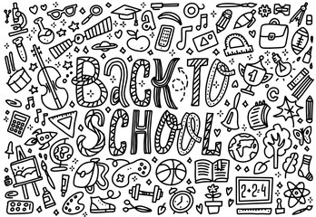 Line art sketchy vector hand drawn set of Back to School cartoon doodle objects. Horizontal composition. Concept of education. Background with school supplies with Back to School lettering