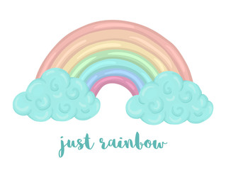 Cute vector illustration of watercolor style rainbow with clouds isolated on white background. Unicorn themed picture for print, banner, card or textile design..