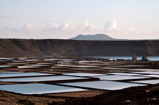 Salt pans in Lanzarote. Salinas de Janubio - Canary Islands, Spain